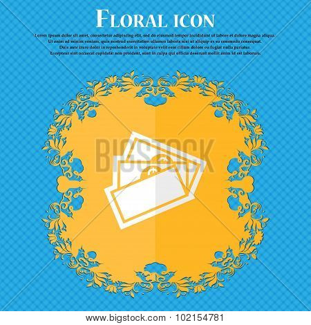 U.s Dollar. Floral Flat Design On A Blue Abstract Background With Place For Your Text. Vector