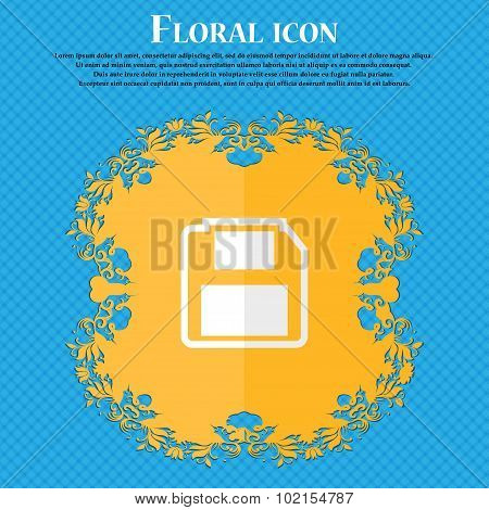 Floppy Disk. Floral Flat Design On A Blue Abstract Background With Place For Your Text. Vector