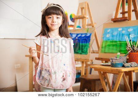Cute Little Artist At School