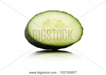 Fresh cucumber slice isolated