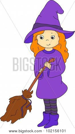 Lovely Friendly Witch With Broom. Vector Illustration For Halloween