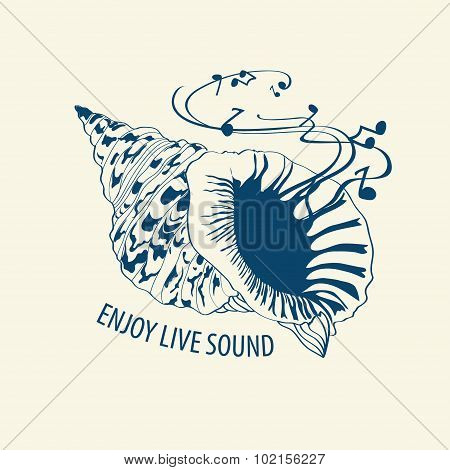 Musical Illustration With Seashell.