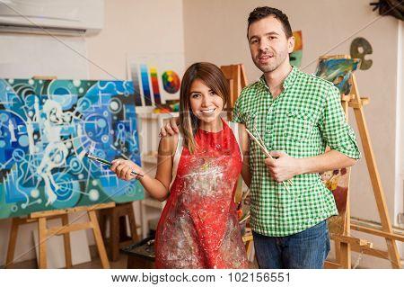 Cute Couple At An Art School