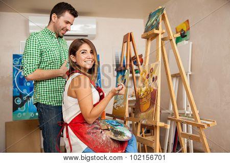 Cute Woman Enjoying Her Art Class