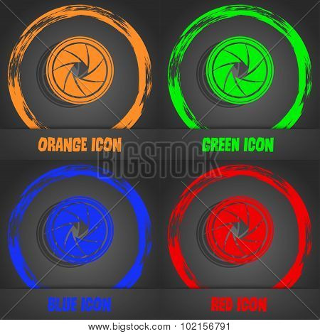 Diaphragm Icon. Aperture Sign. Fashionable Modern Style. In The Orange, Green, Blue, Red Design. Vec