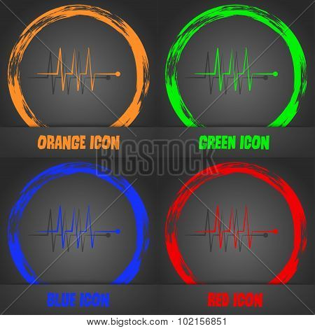 Cardiogram Monitoring Sign Icon. Heart Beats Symbol. Fashionable Modern Style. In The Orange, Green,