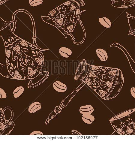 Brown Coffee Seamless Pattern.