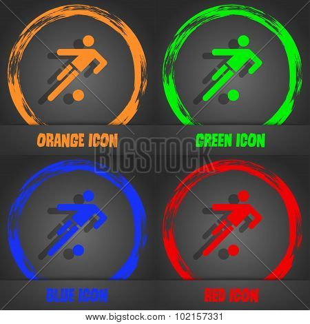 Football Player Icon. Fashionable Modern Style. In The Orange, Green, Blue, Red Design. Vector