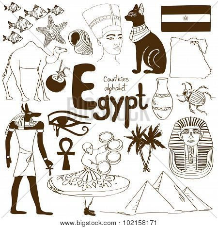Collection Of Egypt Icons.