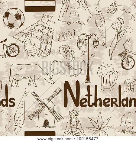 Sketch Netherlands Seamless Pattern