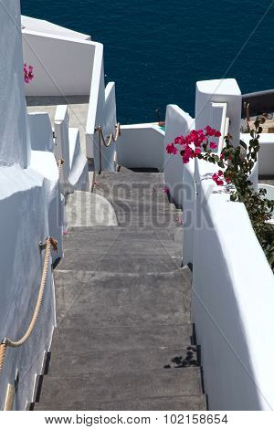 Steps And Aegean Sea In Oia, Santorini, Greece
