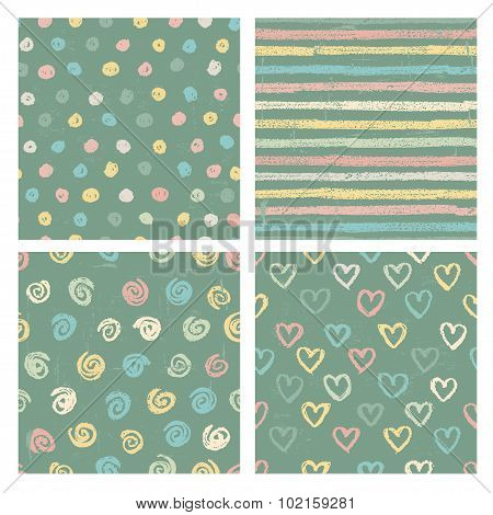 Hand Drawn Set Of Four Seamless Patterns