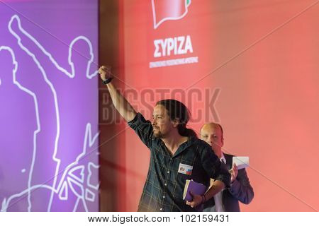 Athens, Greece 18 September 2015. Pablo Iglesias of Podemos in Greece giving a speech.