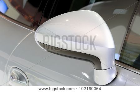 Wing Mirror Of Porsche Series Panamera Se Hybrid Luxury Sport Car  Silver