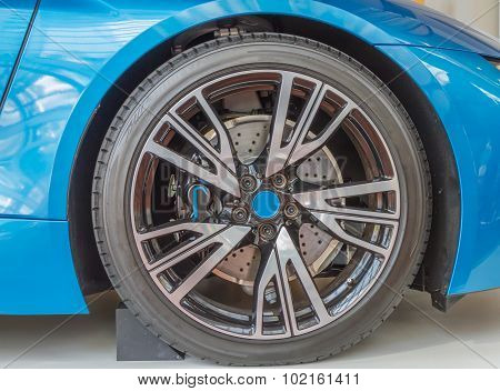 Car Wheel On A Car Blue Color.