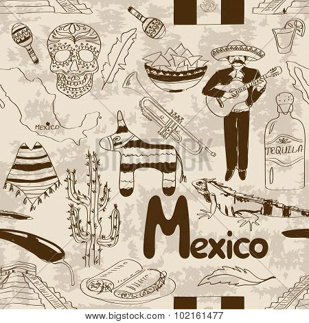 Sketch Mexico Seamless Pattern.