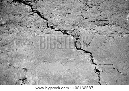 Black And White. Bw. Aged Grunge Abstract Concrete Texture With Dents And Cracked Wall