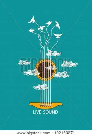 Musical Illustration With Concept Guitar.