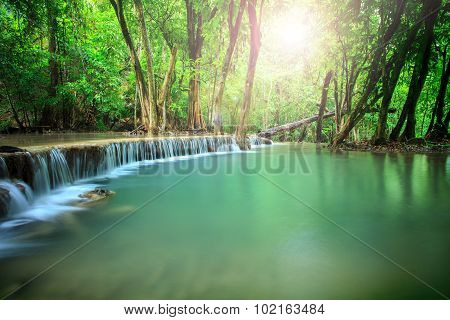 Beautiful Landscape Of Hauy Mae Kamin Water Falls In Pure And Deep Forest Of Kanchanaburi National P