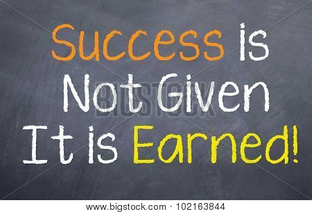 Success is not given, it is earned