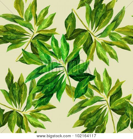 A seamless watercolour pattern with bright green leaves branches