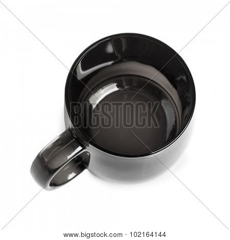 Clean black mug isolated on white background