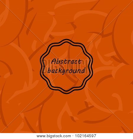 Orange abstract background with different lines. Like gum or pasta