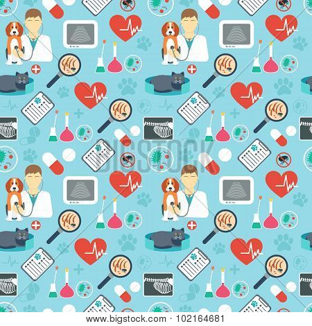 Veterinary Seamless Pattern. Vet Clinic. Flat Design. Blue Background. Vector