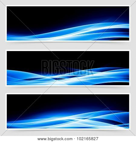 Abstract Blue Speed Light Line Headers