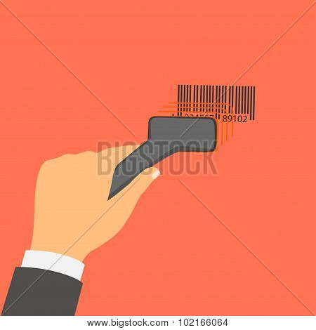 Flat design style vector illustration. Hand holds a barcode scan