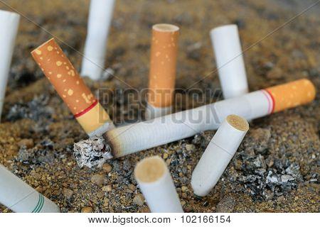 Cigarette Burning In Ashtray