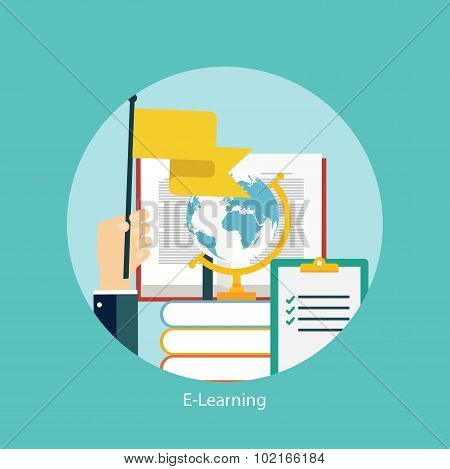E-learning, online education concept, flat styled icon
