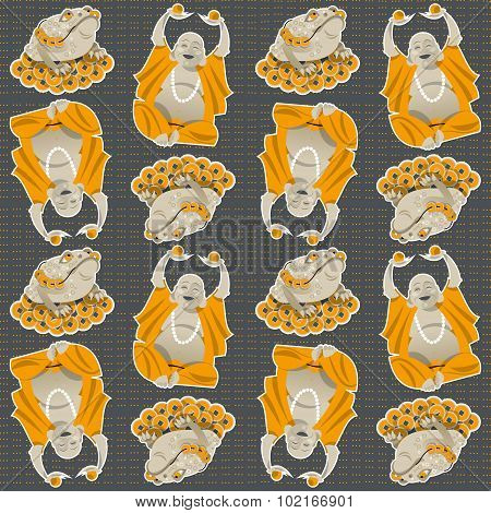 Feng Shui Talismans. Money Frog And Happy Buddha. Seamless Background Pattern.