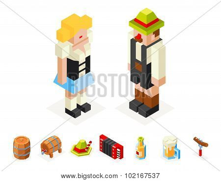 Polygon icons set oktoberfest isometric 3d  man woman beer keg accordion cap foam sausage fork glass