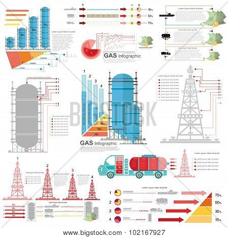 set of flat design of gas and gas rig infographics gas production delivery and gas storing