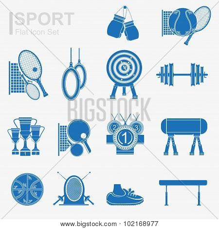 set of flat design sport icon with isolated blue silhouette sport inventory and sports equipment