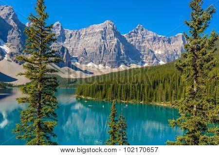 Majestic mountain lake in Canada. Moraine Lake in Alberta, Canada.
