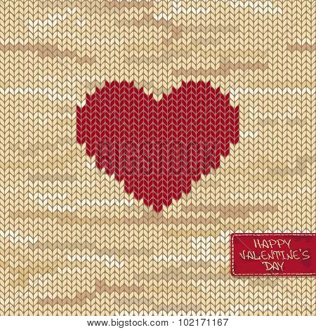 Valentine's Knitted Seamless Pattern Or Card With Heart