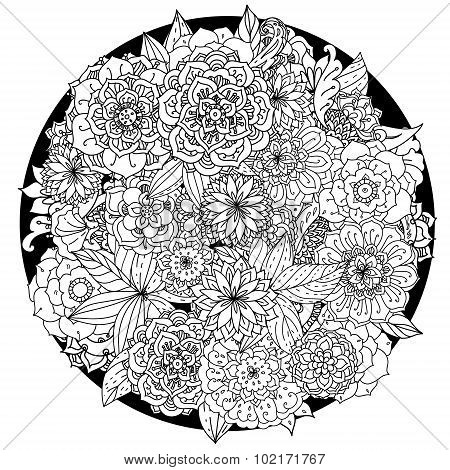 Circle floral ornament. Hand drawn art mandala.  Made by trace from sketch. Ink pen. Black and white