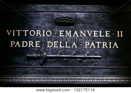 Inscription On The Tomb Of The Father Of The Italian Homeland, Vittorio Emmanuel, Pantheon In Rome,