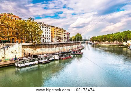 ROME, ITALY - OCTOBER 29: Detail of everyday life in Rome on the river Tiber in Rome on October 29,