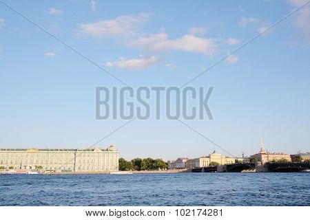 the city of St. Petersburg on the backdrop of the river Neva