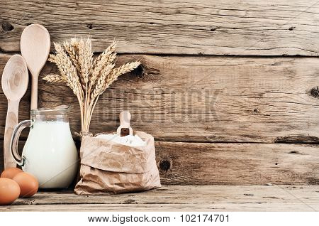 Ingredients For Making Articles Of Flour (flour, Eggs, Milk)