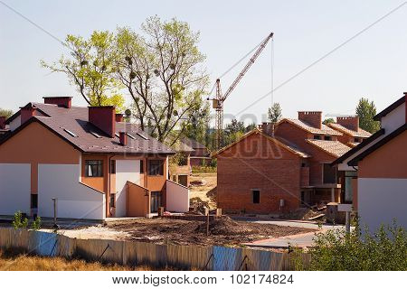 Row Of New Houses Being Built