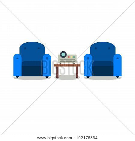 Presentation Room With Projector And Comfortable Seats