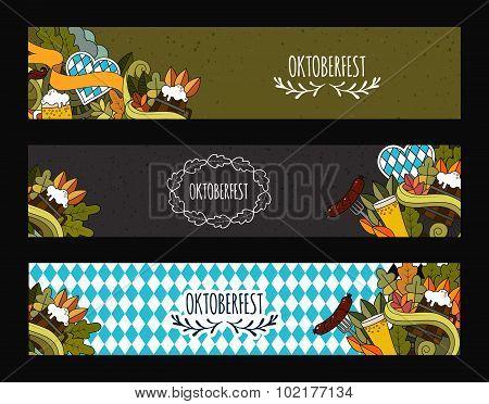 Doodle style web banner design for Oktoberfest beer festival