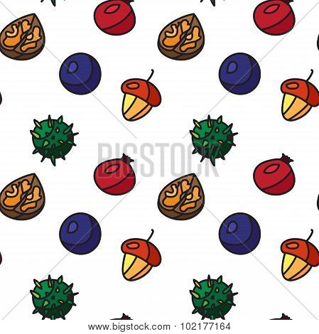 Vintage Nuts, Berry, Fruits Seamless Pattern