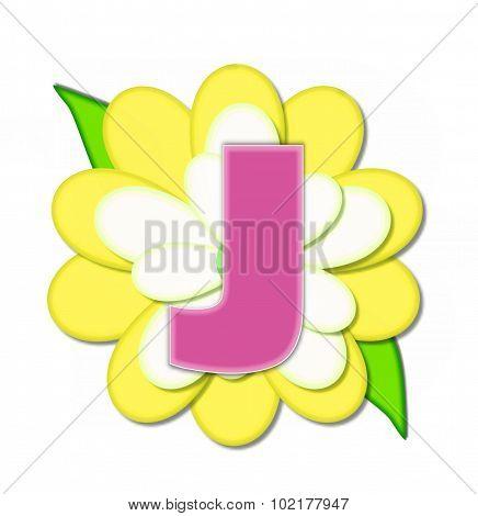Alphabet Flower Pin Yellow J