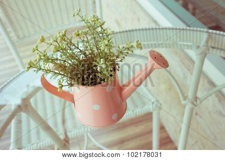 Flowers Vase Decorated On Mirror Table At Living Room, Artificial Flowers In Vase Watering Can