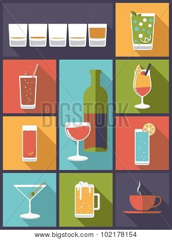 Drinks and beverages. Vertical flat design illustration with various drinks and beverages